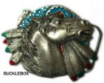 HORSE & FEATHERS ON INDIAN SHIELD BELT BUCKLE + display stand